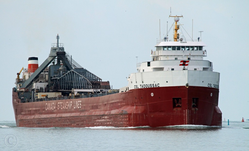 Upbound off Lake Erie, the CSL Tadoussac navigates her way to the Detroit River\'s Amherstburg Channel.
