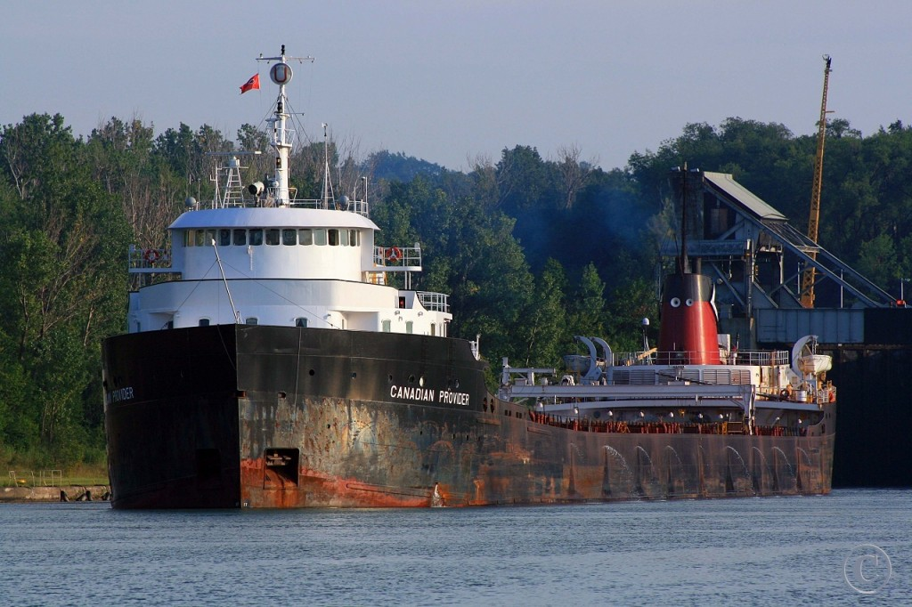 Late evening light sees the Canadian Provider, downbound on the Welland Canal, exiting Lock 4.