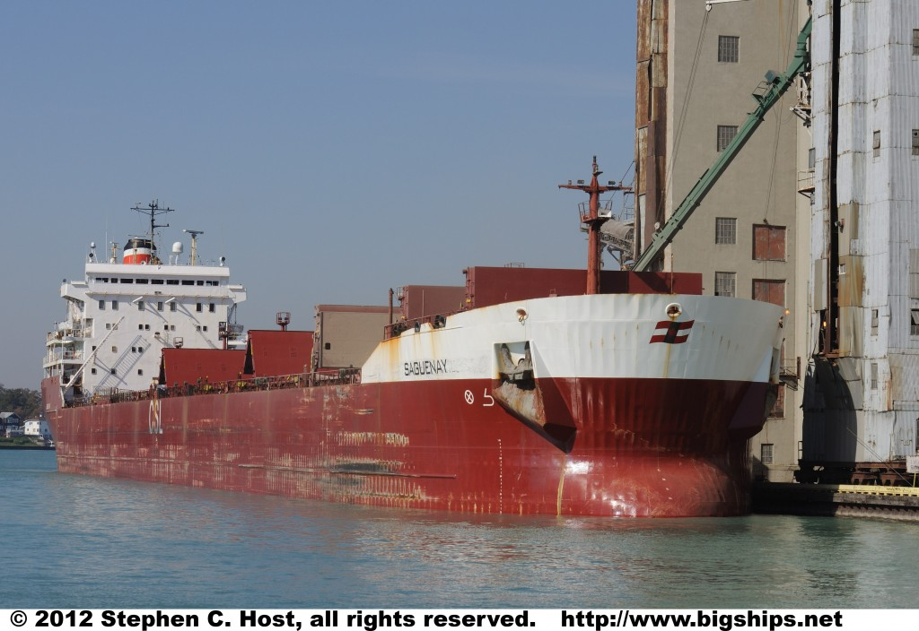 CSL Saguenay is unloading grain at the Cargill Sarnia elevator in October 2011.