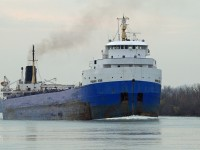 Destined to load wheat in Thunder Bay, the Phoenix Star is upbound through the Detroit River\'s Amherstburg Channel.