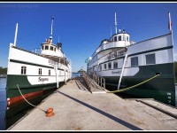 The ships of Muskoka, Segwun and Wennonah II bask in the morning sun, floating blissfully at Gravenhurst docks.