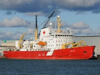 CCGS Amundsen awaits work over the winter season at the Seaway Marine and Industrial Drydocks (formerly Port Weller Drydocks) in St. Catharines, Ontario. The arctic icebreaker and research vessel can be seen on Canada\'s newest $50 bills.