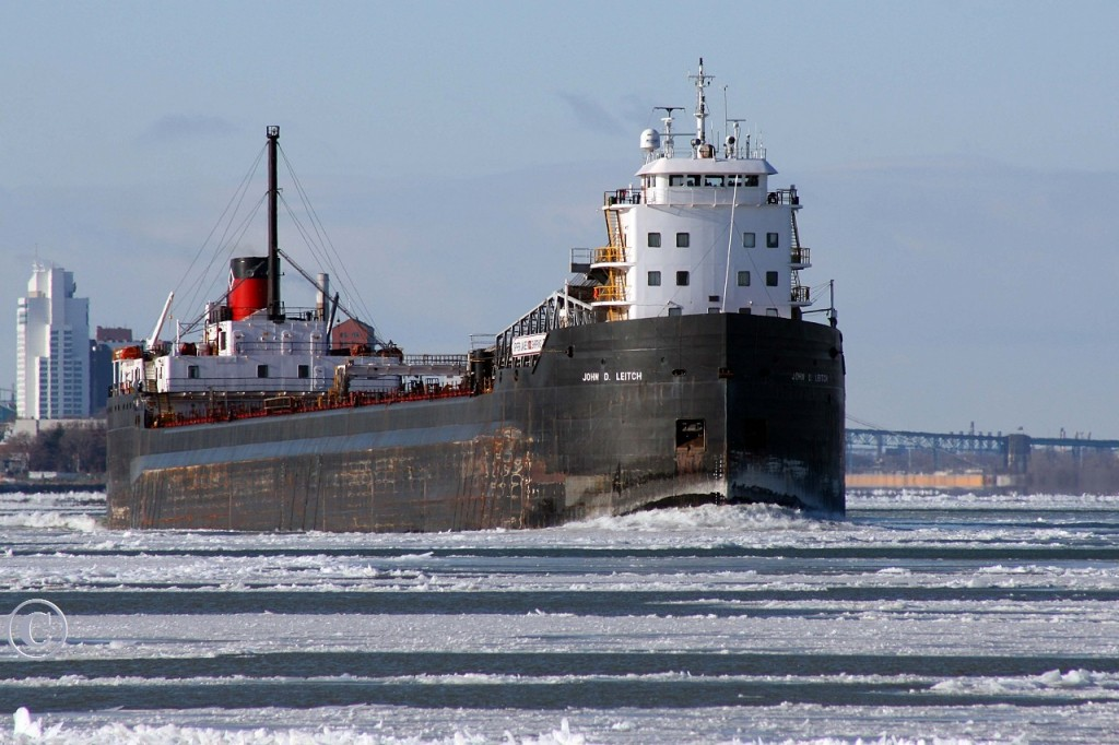 Making a late season run for a salt load in Goderich, the John D. Leitch is upbound on the Detroit River at Windsor.