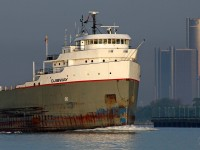 With the morning sun just breaking the horizon, the Ojibway is upbound on the Detroit River in ballast for Thunder Bay.