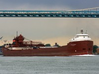 With her cargo of taconite discharged at Severstal Steel at the Rouge, the Charles M. Beeghly is upbound on the Detroit River at the Ambassador Bridge in ballast for Marquette. The Beeghly now sails as the Hon. James L. Oberstar.