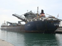 The Algosteel takes on a load of rock salt at the Sifto Salt Mine in Goderich harbour.