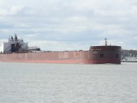 The 1004\' James R Barker heads upriver at Sarnia, ON.
