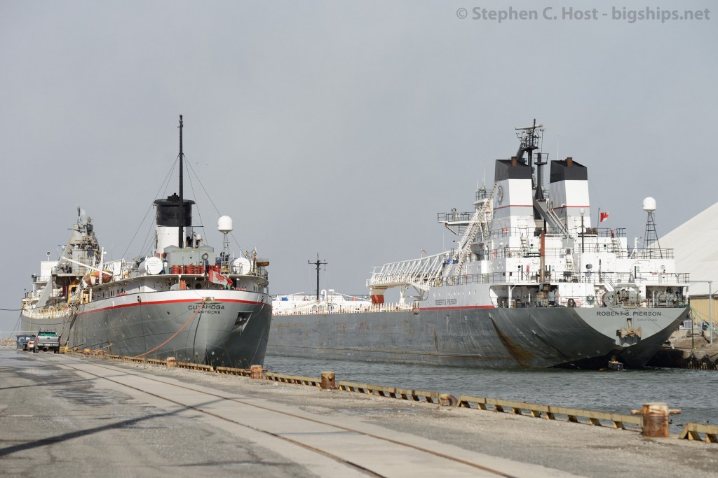 A pair of Lower Lakes Fleet vessels, Robert S. Pierson and Cuyahoga sit in the Port Authority of Hamilton for winter layover.