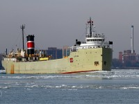 The 2013 shipping season on the Great Lakes is slowly showing signs of activity. The Alpena, leaving winter lay-up in Cleveland, is upbound on the Detroit River at Windsor. She is destined for her namesake port in Alpena Michigan. She will load cement and head for South Chicago.