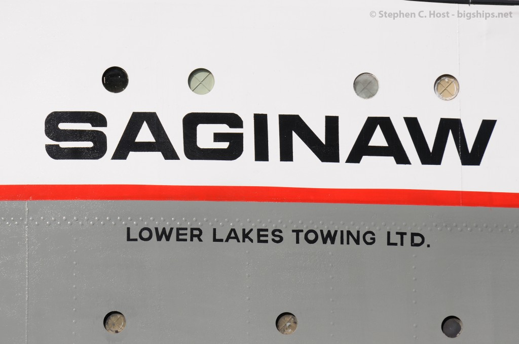 One neat thing I've noticed is when ships are on layover  ships such as the Saginaw get extra attention, and in this case a fresh coat of paint on starboard side identifier.