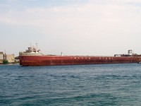 L.E. Block passes by Sarnia on her way to Port Colborne. The vessel was purchased for scrap by International Marine Salvage after nearly 25 years of inactivity. It last sailed for Inland Steel in 1981.
