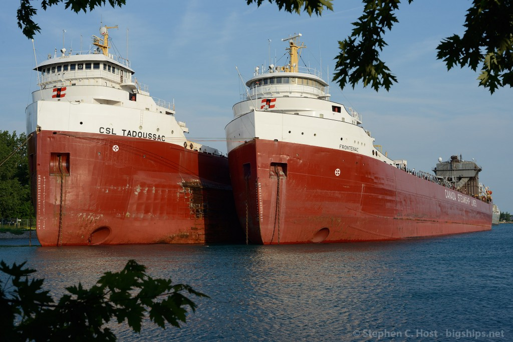 With extended layover due to the US Steel Nanticoke lockout, Canada Steamship Lines ships Tadoussac and Frontenac sit side by side at Sarnia, Ontario awaiting the return to duty.