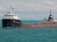 "Algoma Montrealais downbound at Sarnia in lower Lake Huron with a load of wheat destined for Thunder Bay. One of the very few remaining ""straight deck"" classic lakers still left, her sister Ship the Quebecois has not sailed this season, their time may be up soon.."