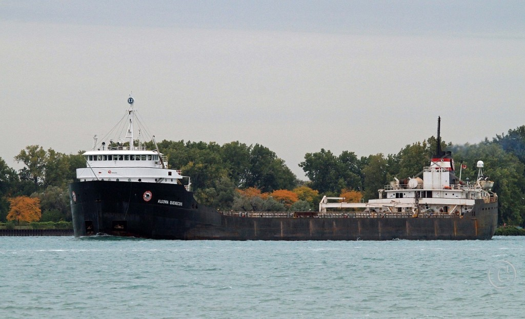 Built in 1963 at Canadian Vickers in Montreal for the Upper Lakes fleet as the Quebecois, the Algoma Quebecois, under the Algoma Central flag, sails downbound on the Detroit River for Quebec City. She was recently sent to the scrapper in Port Colborne. Another classic bites the dust.
