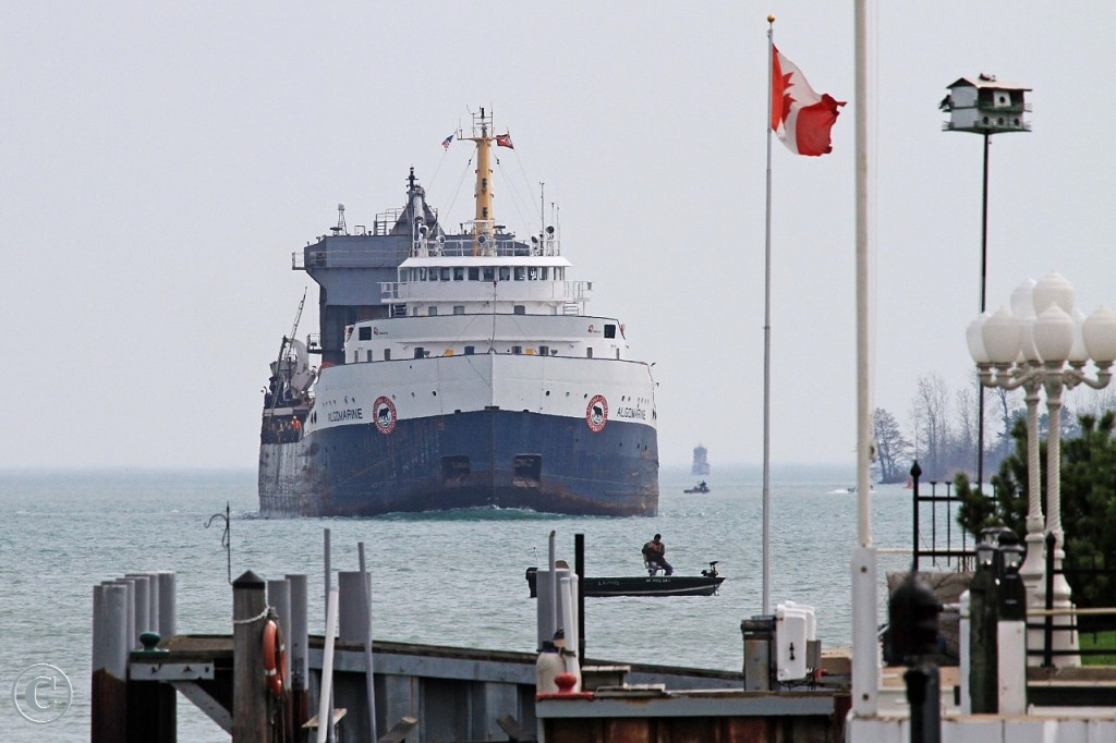 Built for Carryore as the Lake Manitoba by Davie Shipbuilding in 1968, the Algomarine is downbound on the Detroit River at Windsor.