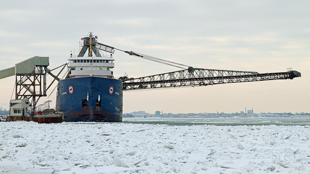 The Algorail loads salt destined for Toronto. She was built at Collingwood Shipyards in 1968.