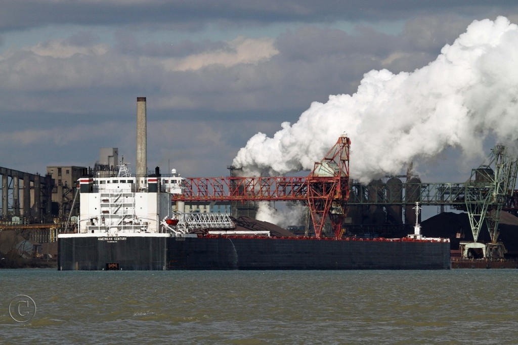 Built by Bay Shipbuilding as the Columbia Star in 1981, the American Century unloads taconite ore at U.S. Steel's Great Lakes Works on Zug Island.