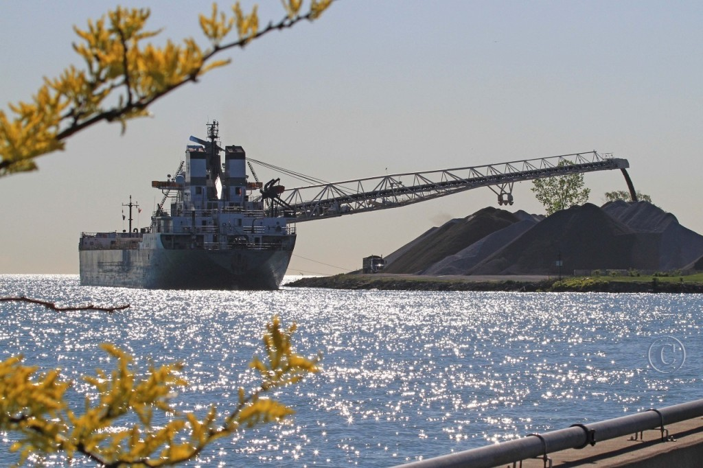 The Calumet discharges stone at the Southwest Sales dock in east Windsor.