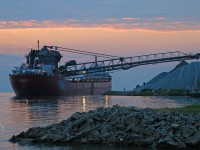 Working through the night, the Frontenac discharges stone at Southwest Sales in east Windsor as dawn approaches.