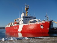 CCGS Louis S. St-Laurent has just tied up at the Bedford Institute of Oceanography. She will be in town for a few days to resupply and get fuel. After that she will sail for the Labrador Strait to resume icebreaking operations.