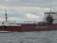 Having been deliverd to CSL only a few month's ago. Canada Steamship Lines Thunder Bay is downbound in the St Lawrence River bound for Quebec.
