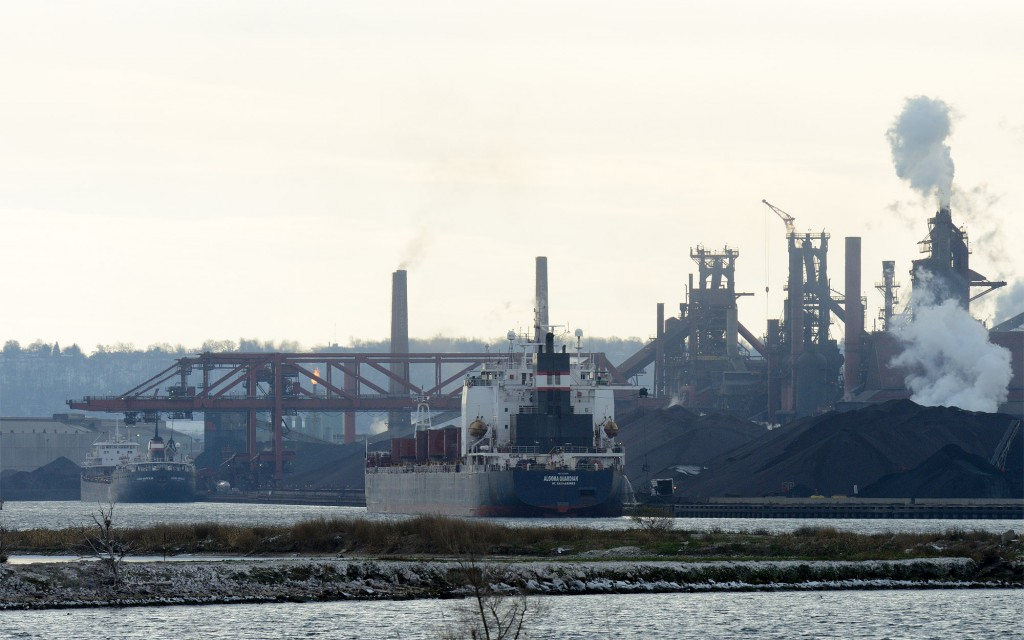 Algoma Guardian (Front) and Algoma Montrealis (rear) are unloading ore at the Dofasco Dock in Burlington Bay. It has been said that Montrealis may have ran its last load into the Port of Hamilton and may be retired at the end of the shipping season.