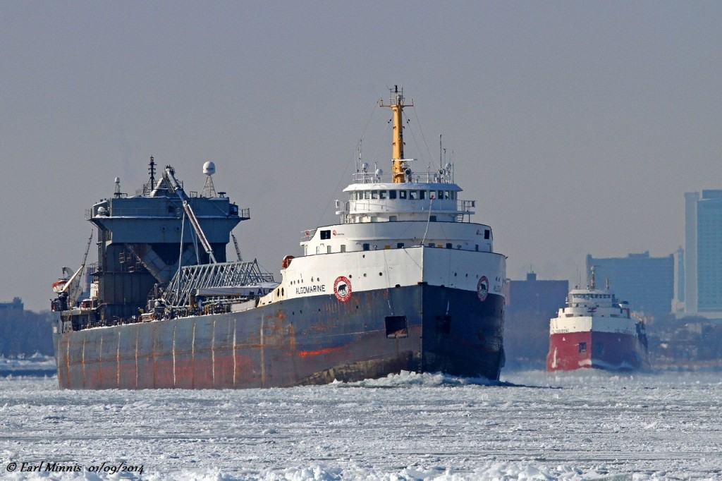 In a convoy of 3 classic lakers lead by CCGS Samuel Risley, the Algomarine heads for Goderich to load salt. The CSL Tadoussac follows in the distance.