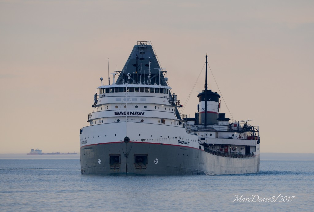 Saginaw looking as spectacular as ever in the fading light as she makes the turn down bound at buoys 1 & 2 in the Huron cut.