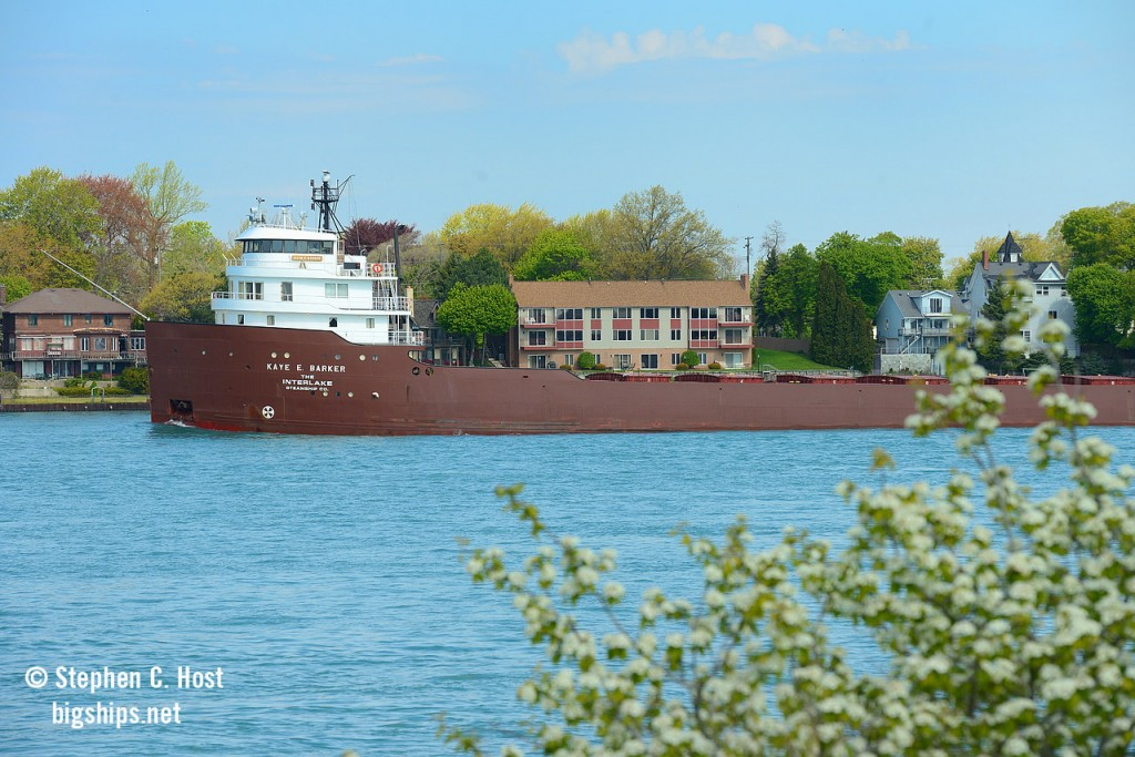Built in 1952, this fine looking Interlake Steamship Company specimen is downbound on the St. Clair River passing the homes , which to be frank, only have a view of Chemical plants on the other side in Sarnia. At least the blossoms are out making for a pretty scene.