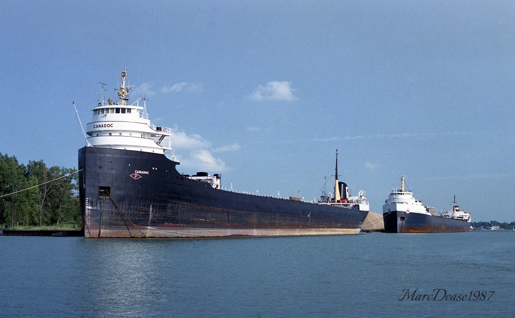 From the archives 30 years ago today we have the Canadoc(2) and Algogulf(1) laid up in the north slip at Point Edward, ON. The Canadoc was scrapped in Colombia in 1991 while the Algogulf sails today as the Algosteel.