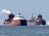 Hon. James L. Oberstar meets fleet mate Kaye E. Barker above buoys 1 & 2 in lower Lake Huron.