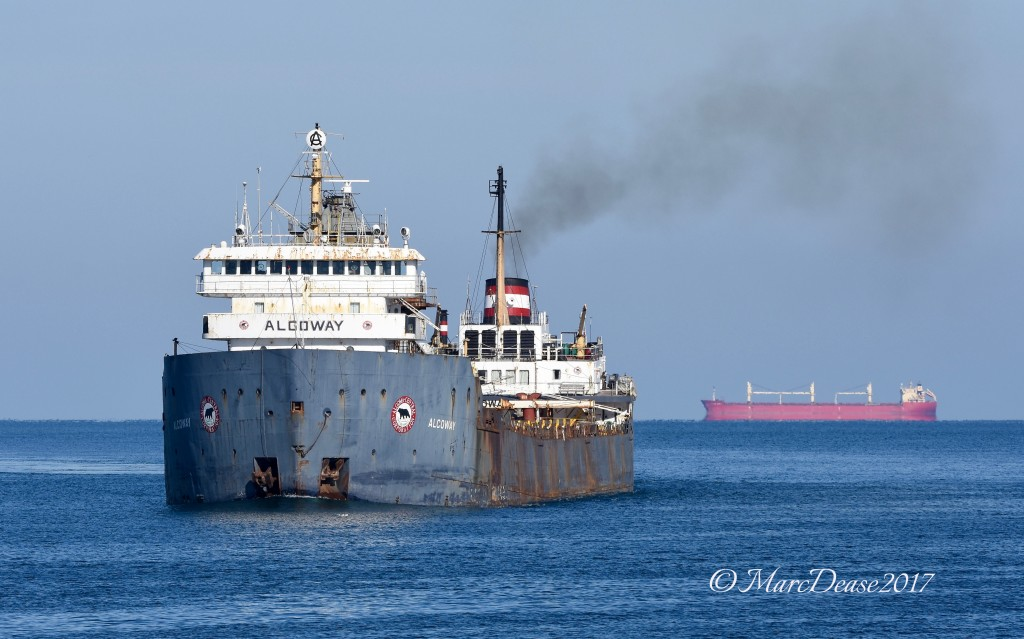 M/V Algoway makes the turn down bound at buoys 1 & 2 in the Lake Huron cut as the Federal Asahi waits on the hook for a Pilot.