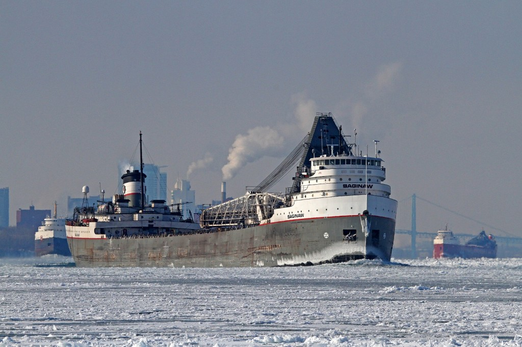 On a bitter winter day, the Saginaw is the first of 3 upbound classic lakers being escorted by the icebreaker Samuel Risley (out of the frame). The Saginaw destined for Sault Ste. Marie, is followed by the Algomarine for Goderich and the CSL Tadoussac bound for Thunder Bay.