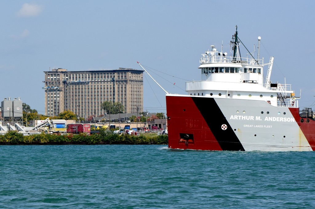 Probably the most famous ship still sailing on the great lakes today passes floats down bound in the Detroit River past one of the most historic buildings in Detroit. The Michigan Central train station stands tall and proud as it undergoes refurbishment. Its always nice framing these amazing pilot house forward vessels with that amazing building.